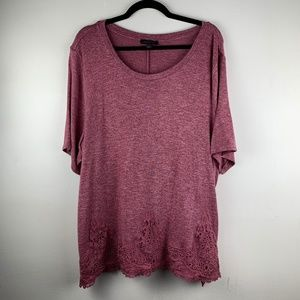 Lane Bryant | Soft Pink Tee With Lace Trim 22/24